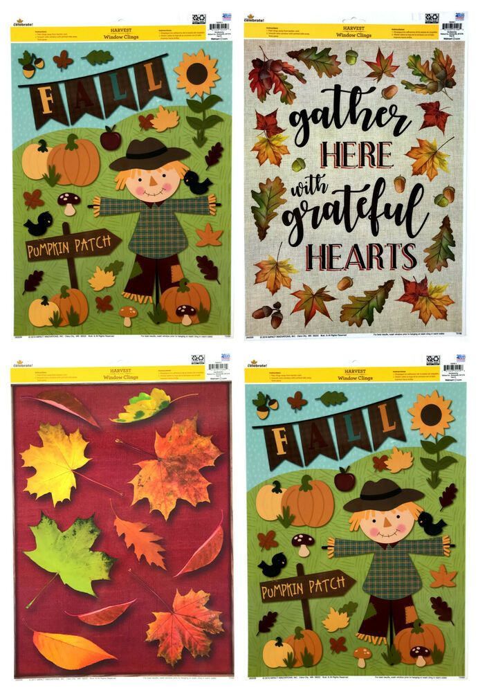 Lot of 4 Harvest Window Clings Fall Autumn Thanksgiving Leaves Pumpkins Crows