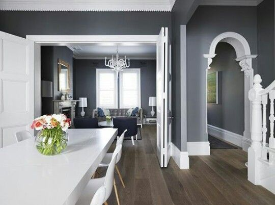 Favourite Decor At The Minute Dark Slate Grey Or Black Walls With Bright White Boarders Trims And Door Frames Perfection Home House House Interior