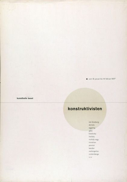 Jan Tschichold, poster for exhibition Konstruktivisten at Kunsthalle Basel, 1937.
