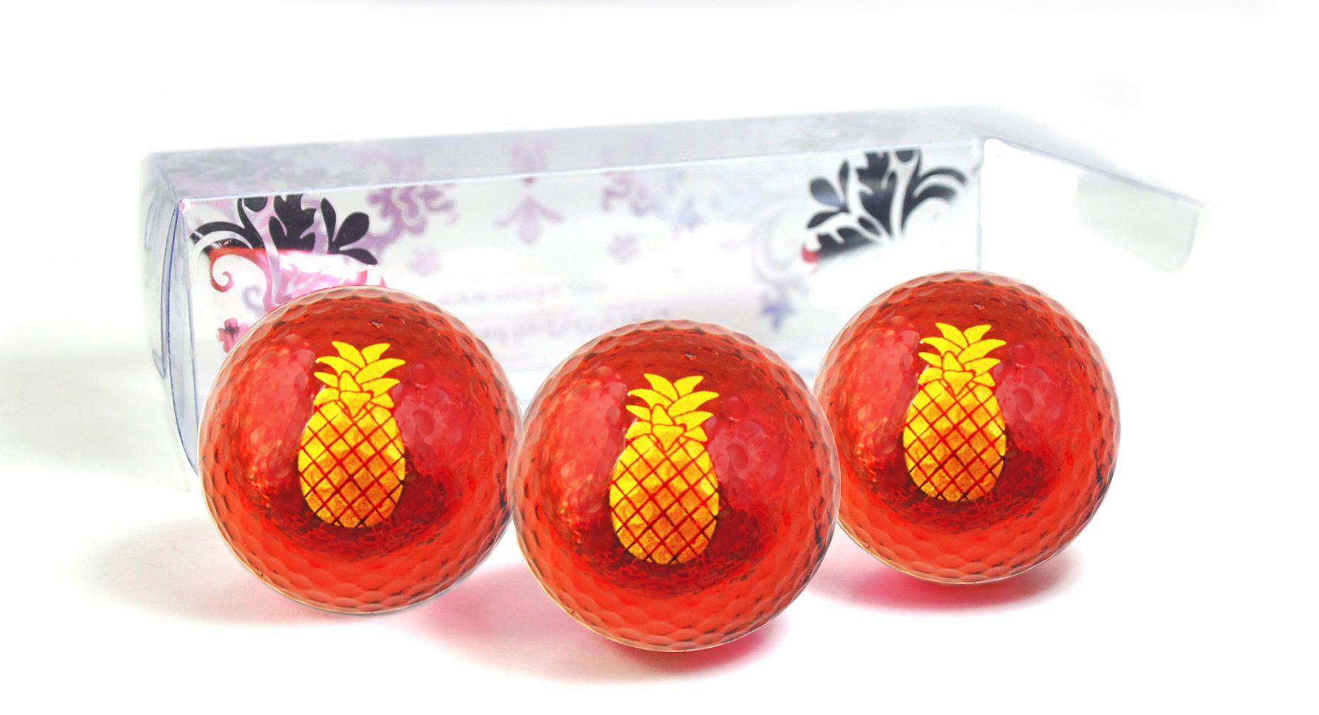Metallic Red Golf Balls with Yellow Pineapple Imprint- by Navika. Bling your swing! Chromax golf balls. Hawaii themed golf balls.