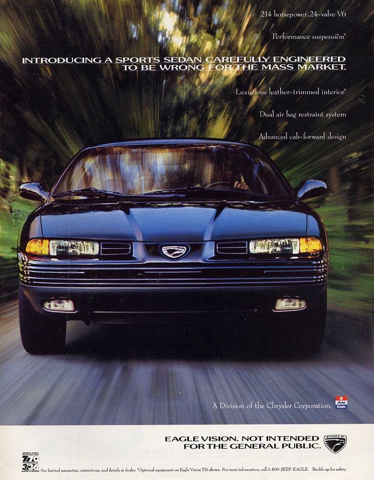 1992 Eagle Vision ad. Car ads, Car advertising, Chrysler