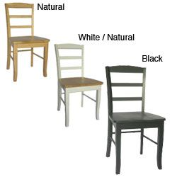 Madrid Wood Ladder Back Chairs (Set Of 2) (Black   Natural Finish)