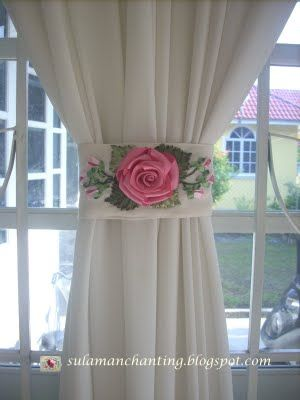 Ribbon Embroidery With Images Flower Curtain Curtain Decor