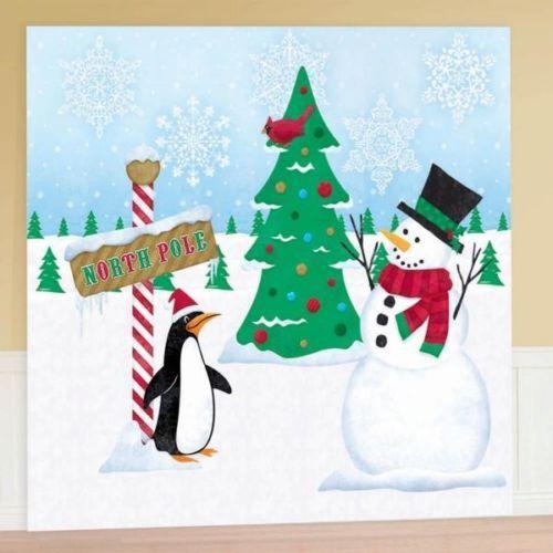 CLEARANCE Christmas Party Winter Penguin  Snowman Scene Setter