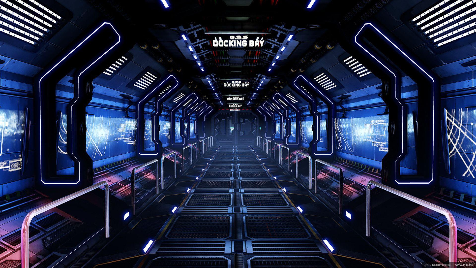 Artstation Genesis Space Station Corridor Phil Derbyshire Spaceship Interior Sci Fi Environment Scifi Interior