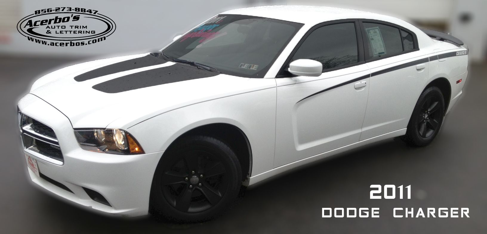 white dodge charger with hood decals side stripes door edge guards wheel moldings - Dodge Charger 2013 White Black Rims