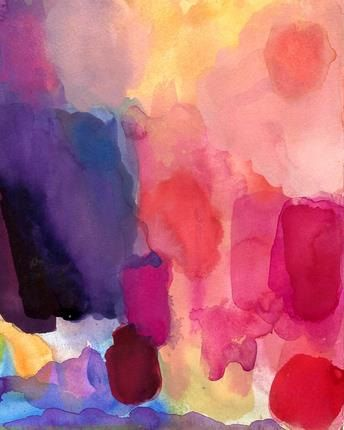 Daybreak. Art Print Original Watercolor Painting, sunny abstract art print landscape colors hot pink orange yellow violet blue