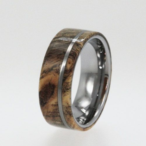 Mens Tungsten Wedding Bands Wood Ring With Pinstripe Carbide