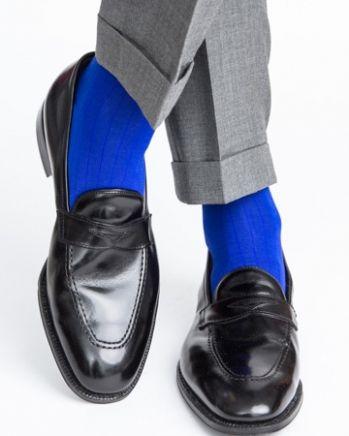 Dapper Classics Clematis Blue Ribbed Mid-Calf Linked Toe Sock