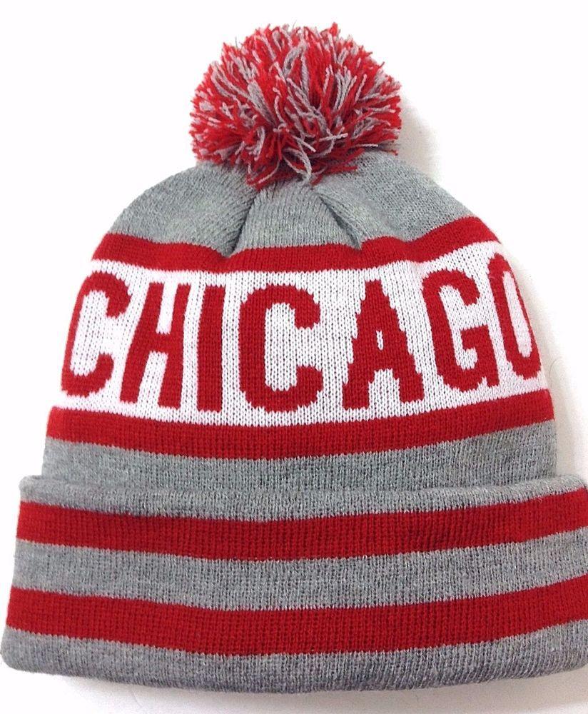 new CHICAGO POM BEANIE Men Women Winter Knit Ski Bulls Blackhawks Colors  Retro  KBTrading  Beanie 68a8fc1f31b2