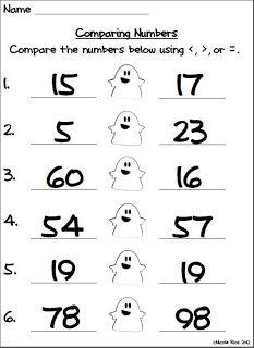 Halloween Comparing Numbers | Fichas de trabajo
