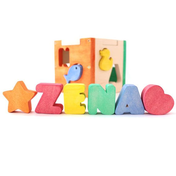 Baby shower gift personalized baby gift by nameinawoodenbox baby shower gift personalized baby gift name puzzle wood shapes personalized wood puzzle shape sorter eco friendly baby gift negle Images