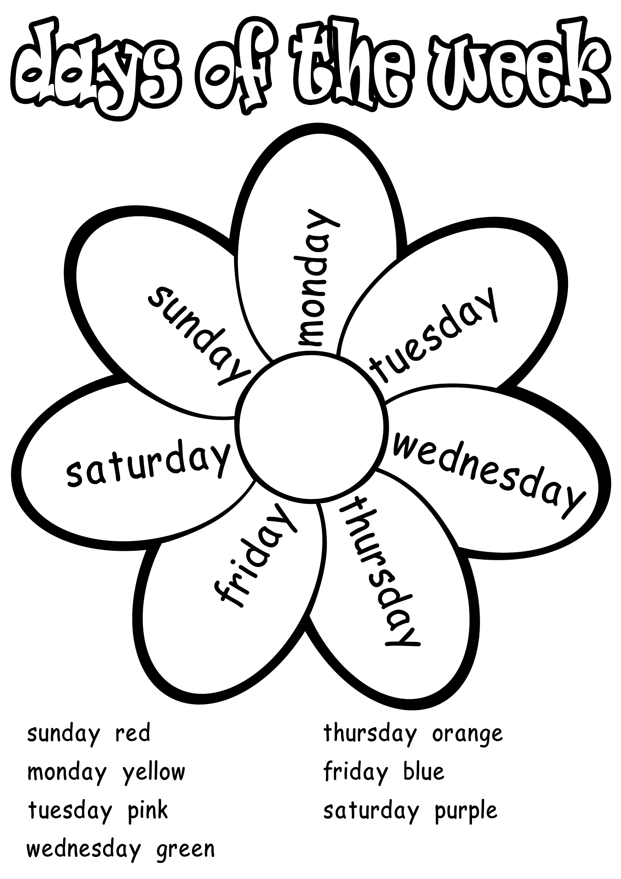 Worksheet For Days Of The Week For Kids In
