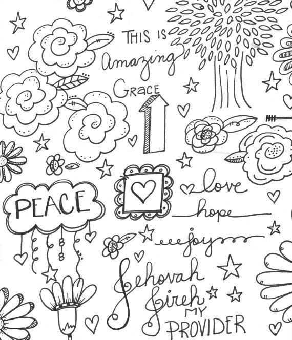 Peace Hope Love Coloring Page by OneChristianChick on Etsy