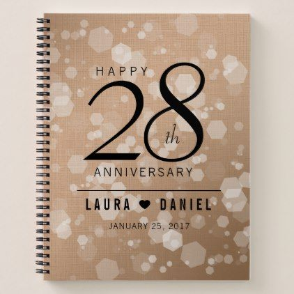 Elegant 28th Linen Wedding Anniversary Celebration Notebook