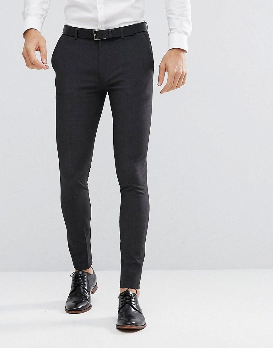 24f2a5cfef38 DESIGN super skinny fit suit pants in charcoal in 2019 | Wedding ...