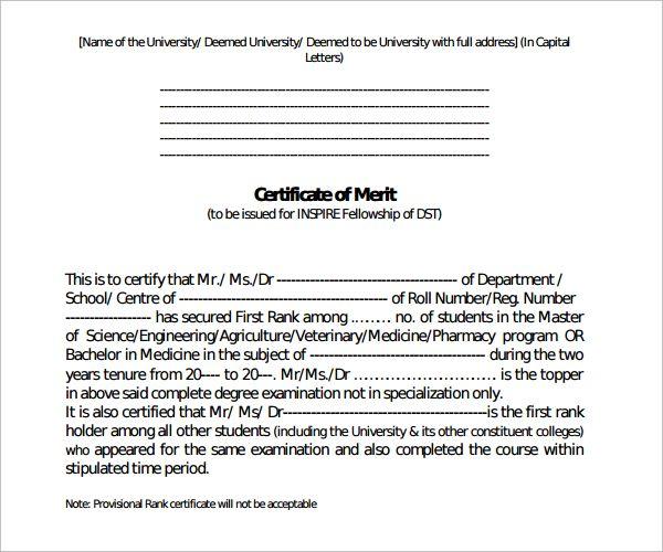 10+ Merit Certificate Templates Free Printable Word PDFcustomize 204