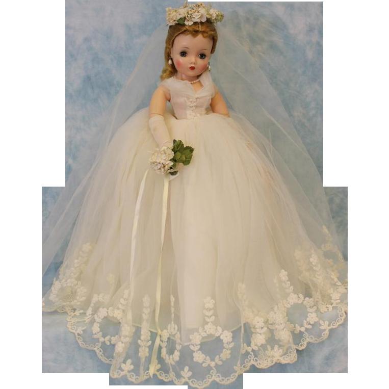 21 1958 Madame Alexander Cissy Bride Doll Bridal Wreath Tagged Gown Wrist Tag Barbie Wedding Dress Bride Dolls Vintage Madame Alexander Dolls