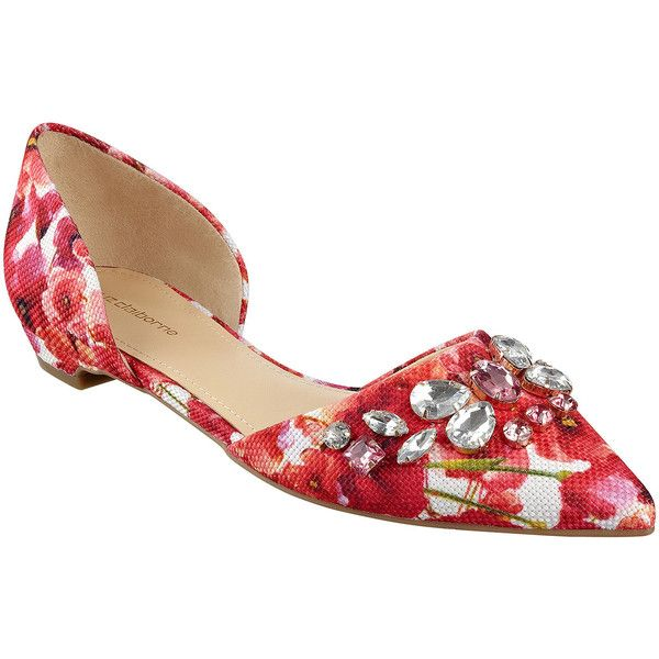 Liz Claiborne Teagan Pointed-Toe Jeweled Flats ($80) ❤ liked on Polyvore  featuring