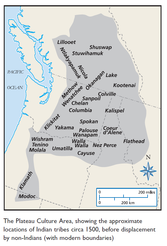 Map of Plateau Culture-North western United States and South western Canada: Klamath, Modoc, Yahooskin, Nez Perce, Flathead, Kutenai, Palouse, Walla Walla, Yakima