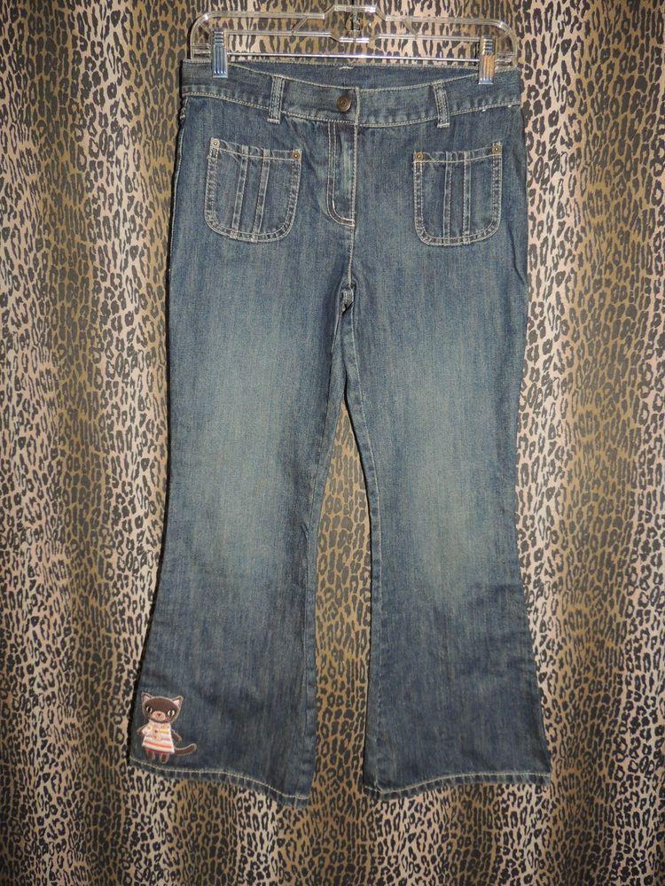 GYMBOREE Girls 4 PKT Cat Flare Leg Adjustable Denim Blue Jeans Size 10 Plus NWOT #GYMBOREE #Flare #Everyday