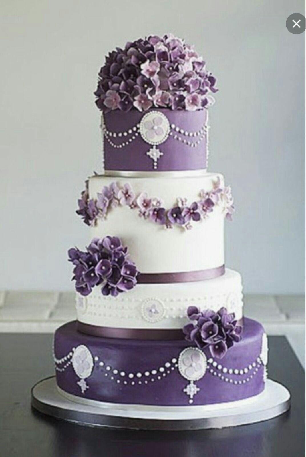 Torta bianca e viola   Torte, Torta bianca