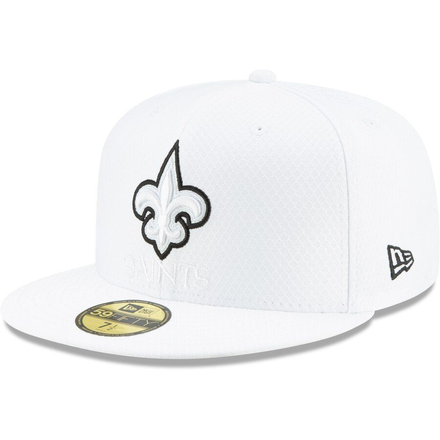 8599845a Men's New Orleans Saints New Era White 2019 NFL Sideline Platinum ...