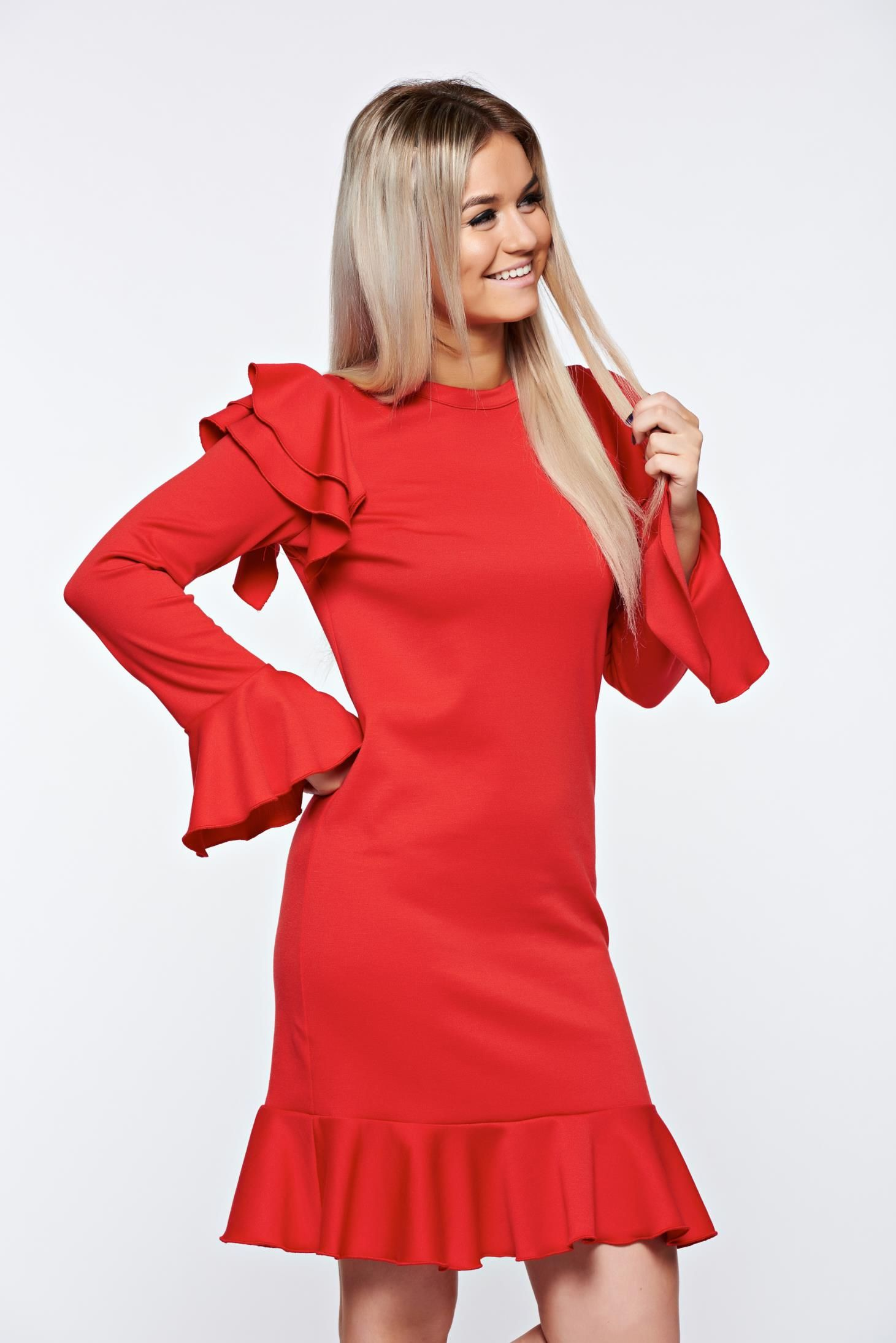 With ruffle details with easy cut elegant with ruffle details easy
