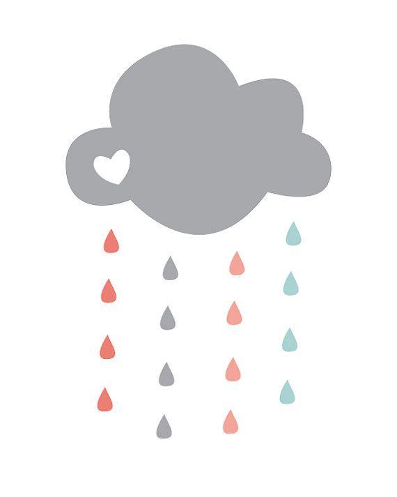 Nursery Art Print In Coral Grey Aqua for Nursery and Children's Rooms 8X10 (Digital + Printable) - Raindrop Print Shop- Cloud + Raindrop
