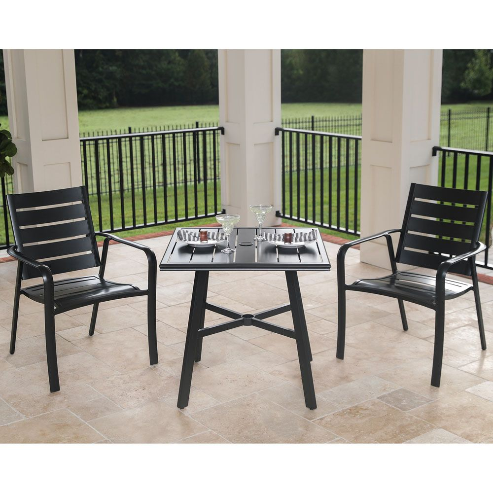 Cortino 3 Piece Commercial Grade Bistro Set With 2 Aluminum Slat