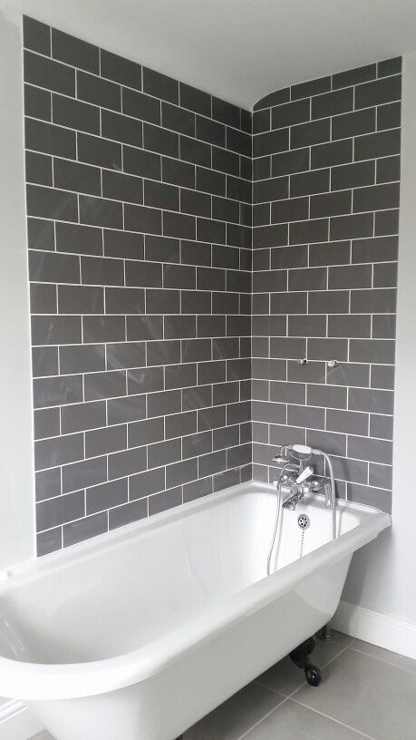 farrow ball blackened dark grey metro tiles white grout 1930s roll top bath