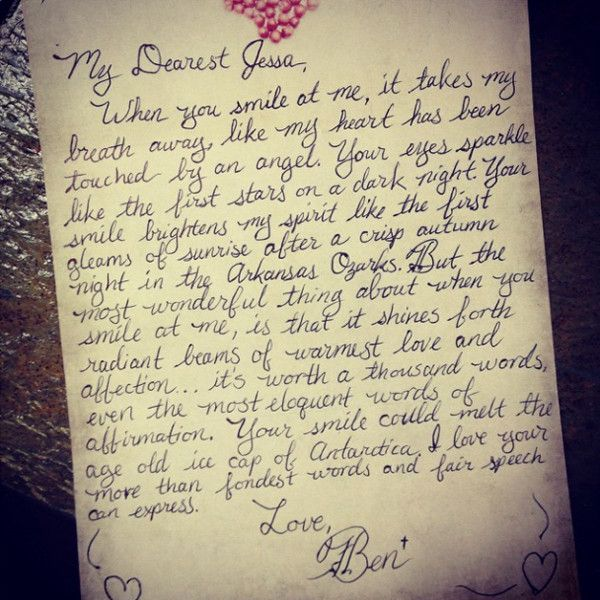 Look Jessa Duggar s Love Letter From Ben Seewald