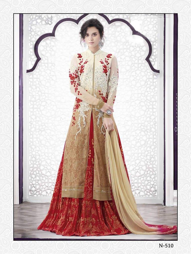 buy saree online Designer Red and Beige Colour Chiffon Indo Western Wedding Lehenga  Buy Saree online UK  - Buy Sarees online