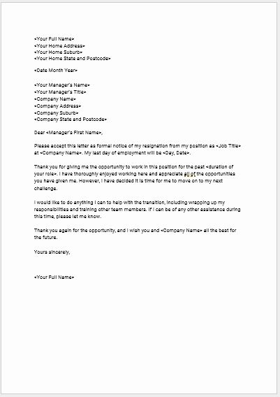 40 Resignation Letter Template Free Letter Templates Free