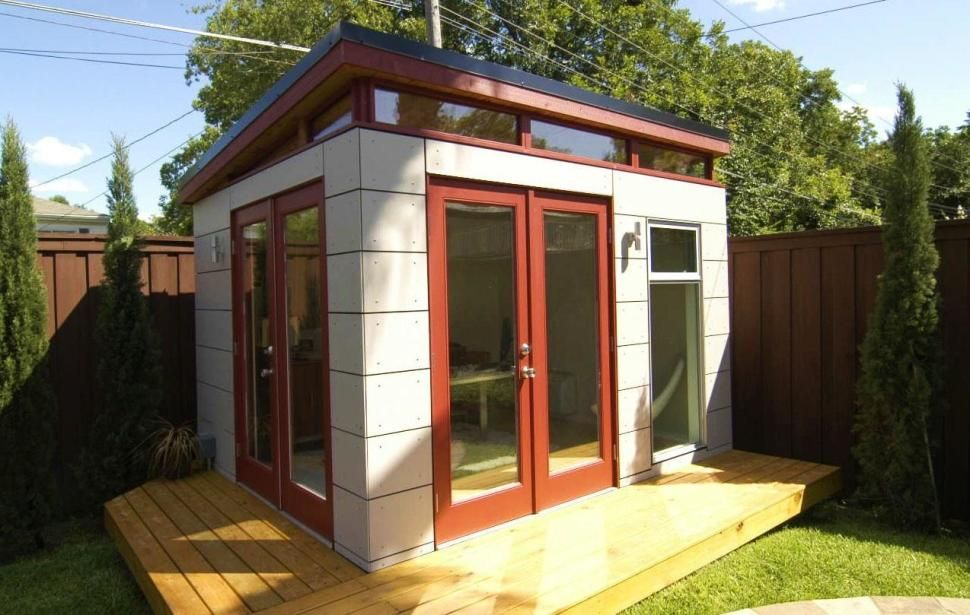 Prefab Office Shed design build your own modern backyard shed or studio 3d prefab modern shed plans Exteriorlogs Raised Floor And Modern Shed With White Exterior Wall Plus Glass Door Also
