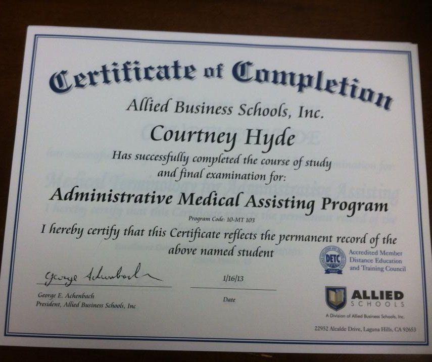 Allied Schools student Courtney Hyde earned her Certificate of - hospitalist nurse practitioner sample resume