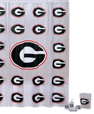 Georgia Bulldogs 7pc Bathroom Shower Curtain Bath Set Family