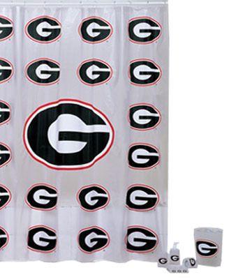 Georgia Bulldogs 7pc Bathroom Shower Curtain Bath Set