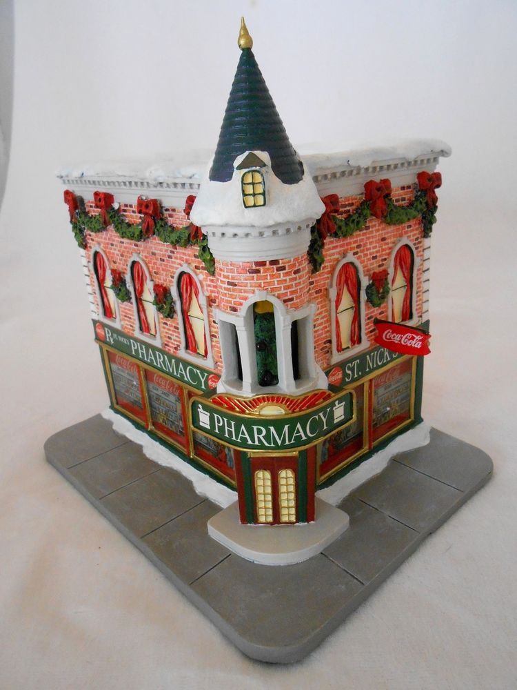 2001 COCA COLA HOLIDAY VILLAGE SCULPTURE ILLUMINATED ST. NICK'S PHARMACY LTD ED  #COCACOLA