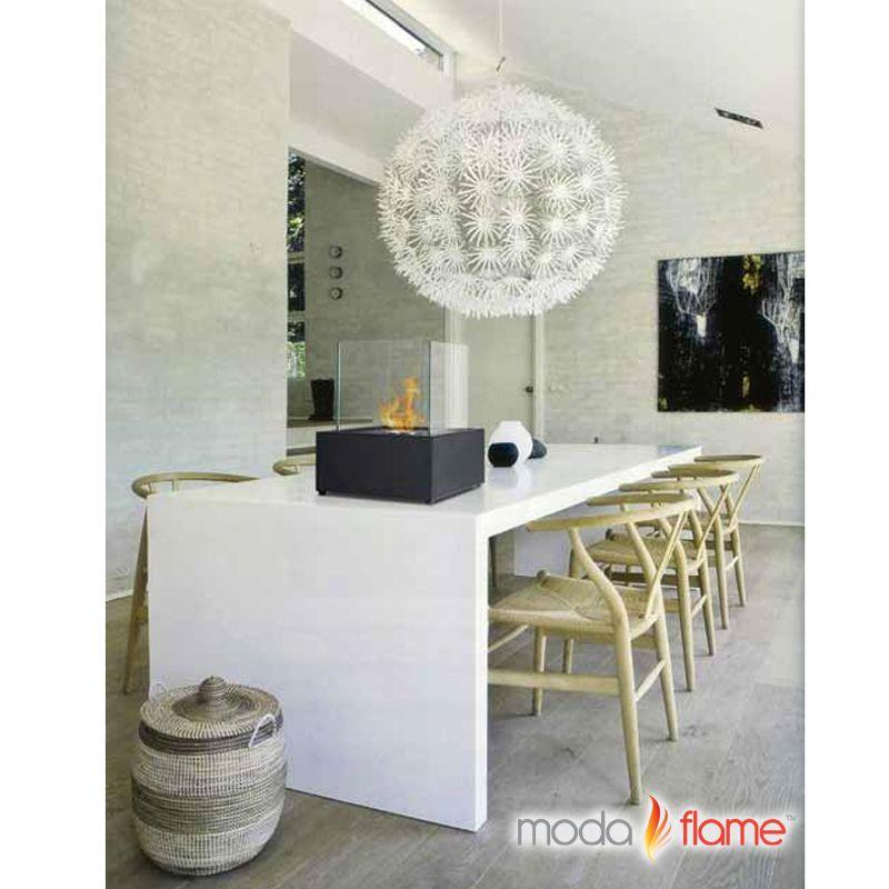 Moda Flame Sevilla Table Top Indoor Outdoor Ethanol Fireplace in Black