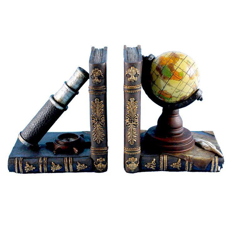 Telescope and Globe Bookends