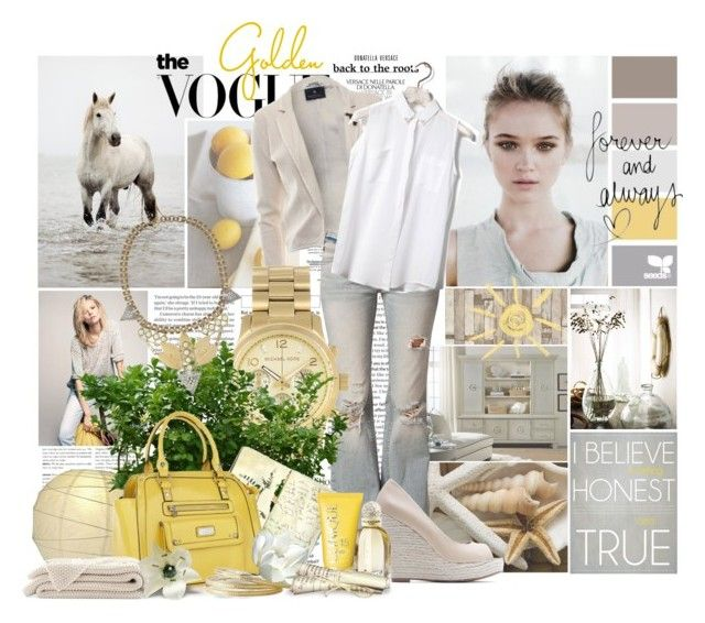 """Golden"" by skybluchik89 ❤ liked on Polyvore featuring Piet Hein Eek, Maison Scotch, Free People, Michael Kors, MANGO, Pull&Bear, Moleskine, Lipsy, Lulu Frost and ADAM"