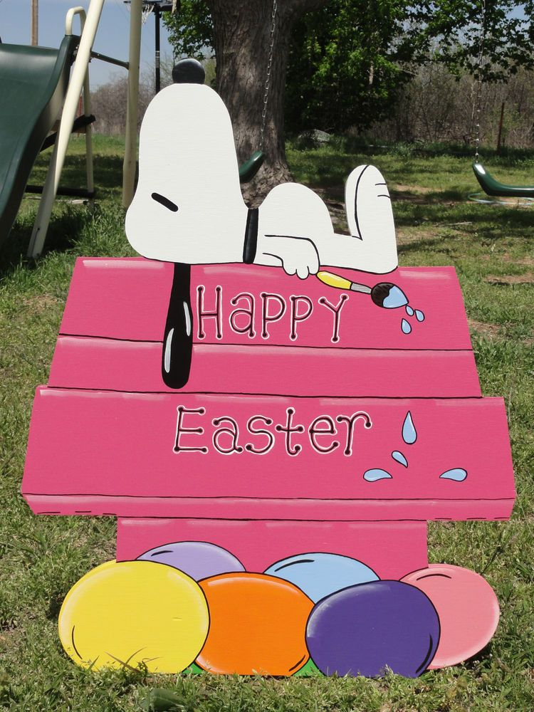 HP Happy Easter Snoopy On House Yard Lawn Art Handpainted