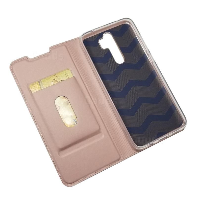 Ultra Slim Card Magnetic Automatic Suction Leather Wallet Case For Mi Xiaomi Redmi Note 8 Pro Rose Gold Xiaomi Redmi Note 8 Pro Cases Guuds Leather Wallet Case Leather Wallet Wallet Case
