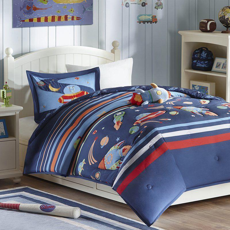 Kolton Space Cadet Comforter Set Kids Comforter Sets Comforter Sets Blue Comforter Sets