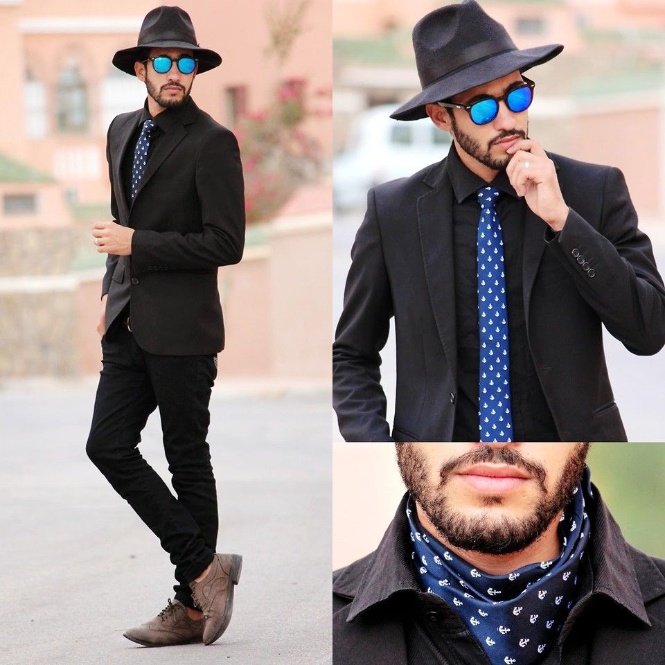 Hamid K Black Blue Brown Brown Outfit Mens Outfits