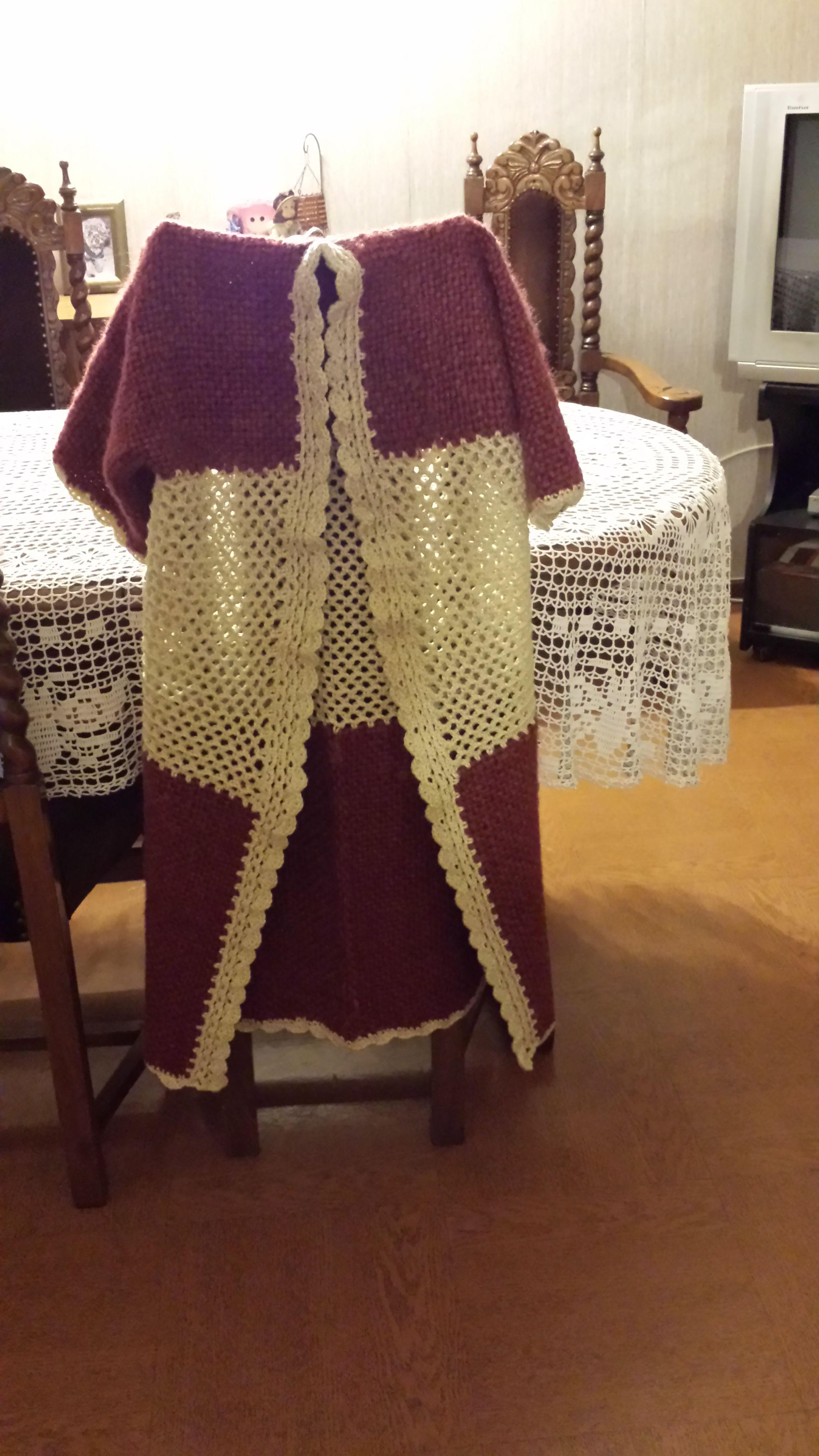Abrigo mezcla telar con crochet