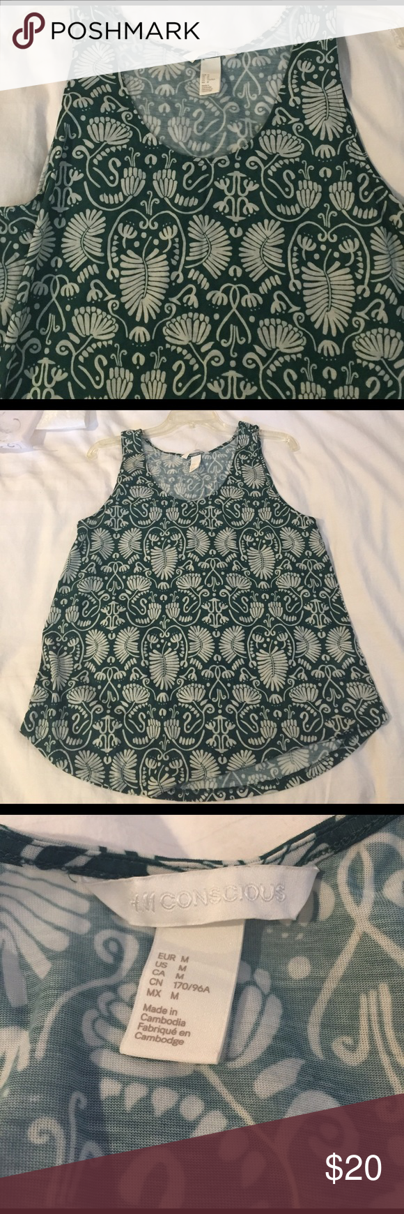 New Green Tank Top New Green tank top NWOT. Medium size  from JCP (brand is Conscious)  but it's really loose fitting. I'd say it would work as a Large also! Soft material and a nice green and white color perfect for the warm days. It's long enough to be paired with leggings also😀 jcpenney Tops