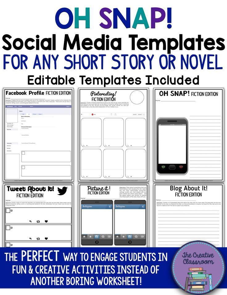 Short Story Or Novel Social Media Template Middle School Reading Teaching Literature Social Media Template