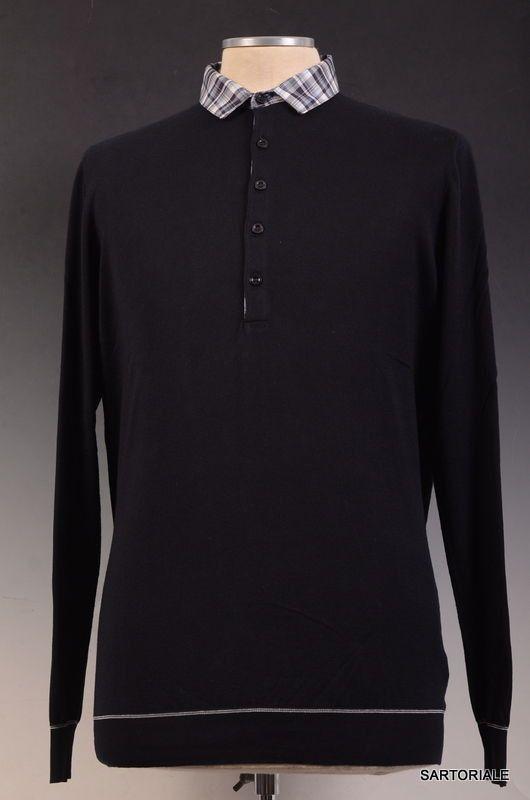 KITON Napoli Navy Blue Cotton Polo Sweater 50 NEW M